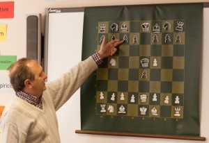 Ken Coates at the demonstration board